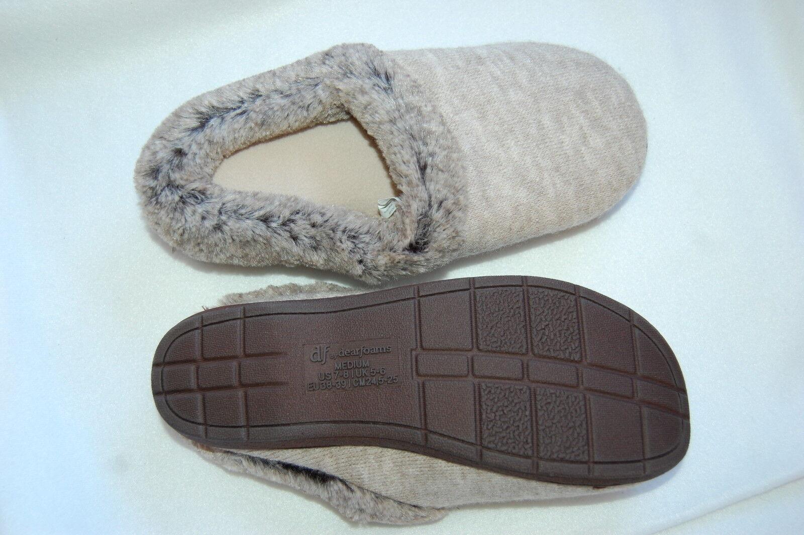 Womens Dearfoam Slippers OATMEAL GRAY In/ Outdoor COMFORT CUSHION Slip On L 9-10