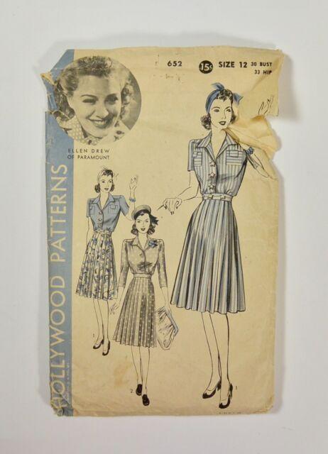 Vintage 40s HOLLYWOOD PATTERNS Movie Star ELLEN DREW Shirt Waist Dress # 652
