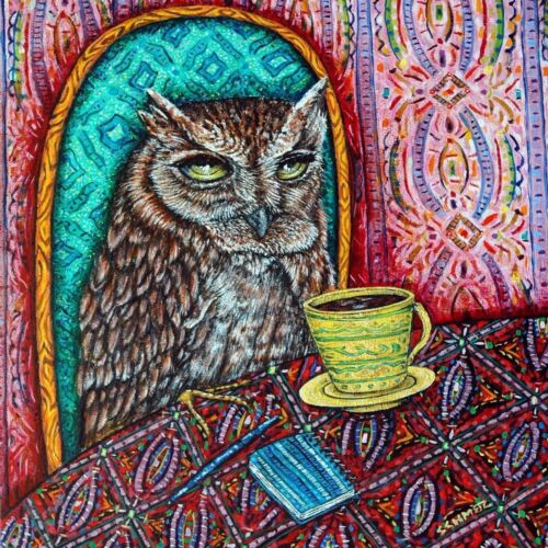 owl PRINT on tile bird print on tile ceramic coaster coffee art tile gift