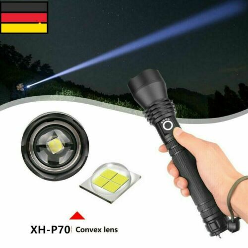 500000LM XHP70 LED Flashlight USB Rechargeable 18650 26650 Zoomable Torch Light