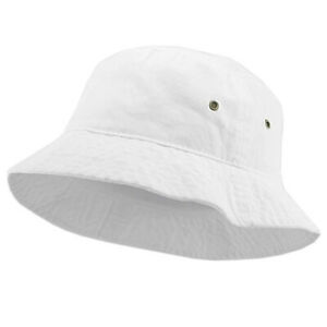 66c9152de87d1a Bucket Hat Cap Fishing Boonie Brim White Safari Summer Unisex 100 ...