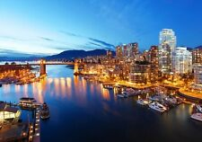 """The City Of Vancouver and Harbor At Night Canada North America Poster 28''X19"""""""