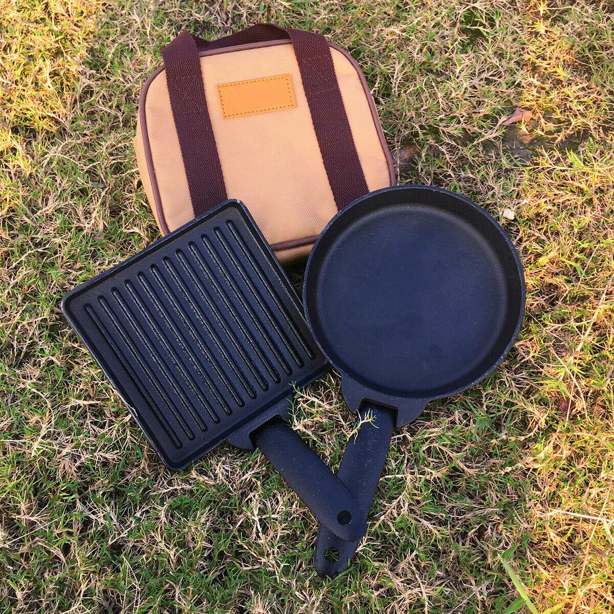 2pcs Set Cast Iron Camping Detachable Steak Cooking Frying Pan + Carry Case Bag