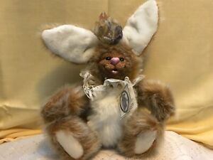 Sweet-Tempered Kimbearly's Originals A&a Plush Becky Easter Bunny Resin Face Hand Numbered Dependable Performance Dolls & Bears