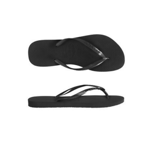 00daf1852ed4 Image is loading Womens-Havaianas-Slim-Crystal-Thong-Black-Black-Sandal-