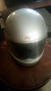 Vintage-Bell-Star-Motorcycle-Full-Face-Helmet-Silver-1981-7-1-4-Needs-work