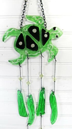 Sea Turtle Glass Wind Chime Outdoor Porch and Patio Decor