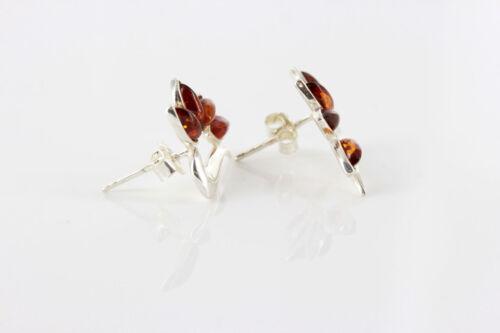 Italian Unique Design Baltic Amber Stud Earrings In 925 Silver ST0067 RRP£28!!!