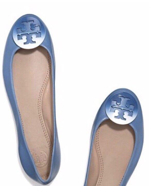 Tory Burch Nappa Dip-Dye Logo Ballet Blue Laguna Nappa Burch Leather Flats size 8.5 32a50d