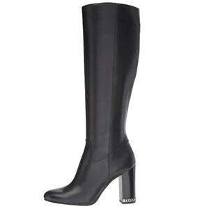 About Michael Knee Tall Walker Kors Women's High Boots Details Leather Dress Shoes Black Mk 2WDH9IE