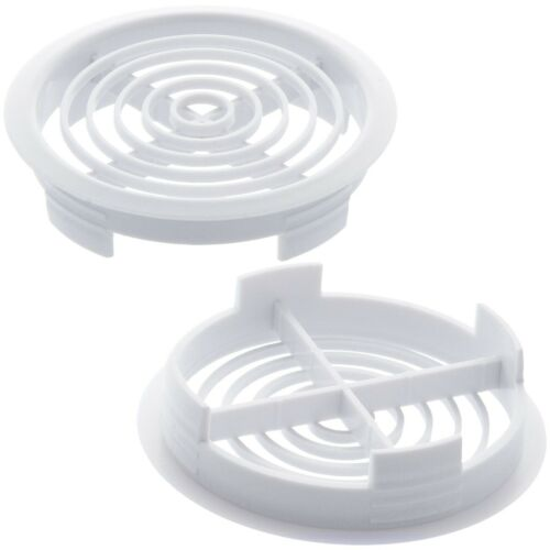 10x CIRCULAR AIR VENTS SOFFIT Round Fascia White PVC Push In Roof Attic Fitting