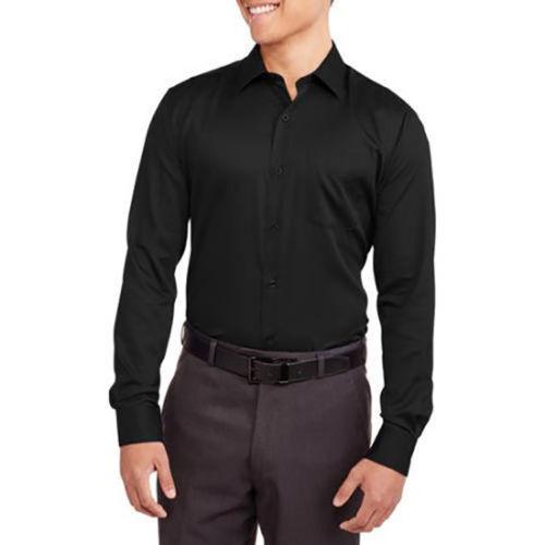 Men/'s Premium Wrinkle Resistant Long Sleeve Button Down Sateen Dress Shirt