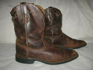 ea4a103a22f Details about Ariat ATS Rambler Square Toe Distressed Cowboy Boots Sz 7.5 B  Brown Leather