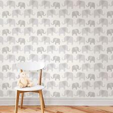 NUWALLPAPER ELEPHANT PARADE PEEL & STICK WALLPAPER GREY NU1405 FINE DECOR