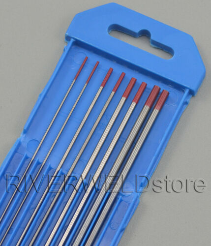 """2/% Thoriated WT20 Red Tungsten Electrode 7/"""" Assorted Size .040-1//16-3//32-1//8,8PK"""