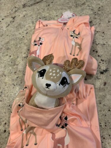 Nwt Girls Justice Deer Pouch One Piece Pajama Sleepwear Size 8