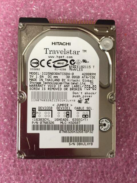 """*TESTED* Hitachi IC25N030ATCS04-0 (07N8326) 30GB / 4200RPM 2.5"""" IDE Harddrive"""