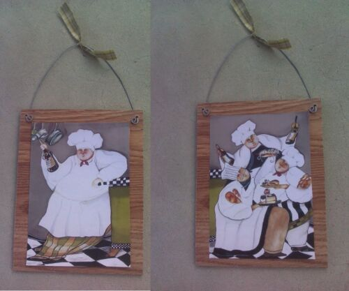 2 STYLES Fat Chef Pictures Bistro Cooking Chefs Wall Hangings Kitchen Home Decor