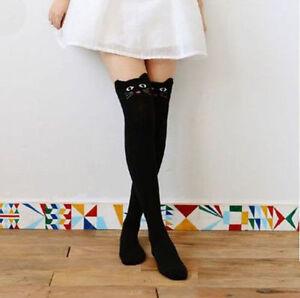 Chaussettes-hautes-montantes-noires-tete-de-chat-animal-harajuku-kawaii