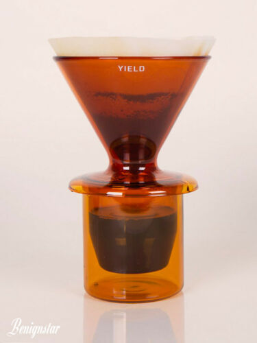 Yield Borosilicate V60 Amber Glass Pour-Over Dripper Coffee Maker and Cups