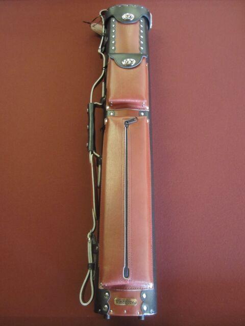 Vincitore Leather 3x5 Black/ Burgundy Pool Cue Case LC35COM Pool Billiards