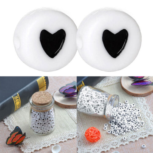 50Pcs DIY Acrylic Heart Love Coin Round Flat Spacer Beads 7mm Black