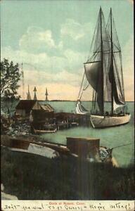 Noank-CT-Dock-amp-Boats-c1910-Postcard