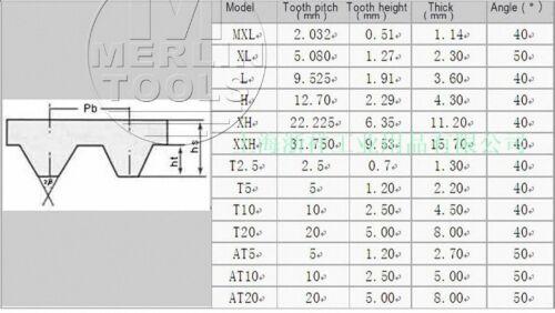 2-30mm Schnitt Synchrone Rad Gummi Zahnriemen 269-810 Mxl B336MXL-B1012MXL W