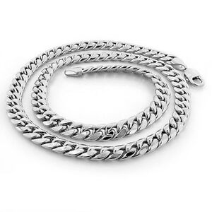 a58158a51d485 Men's Solid Sterling Silver Miami Cuban Curb Link Lobster Lock Chain ...