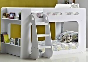 White Shortie Bunk Bed Short Low Height Bunkbed With Shelves By Sleepland Beds Ebay