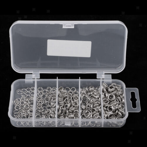 500Pcs//Lot Fishing Split Ring Stainless Steel Snap Lure Connector with Box