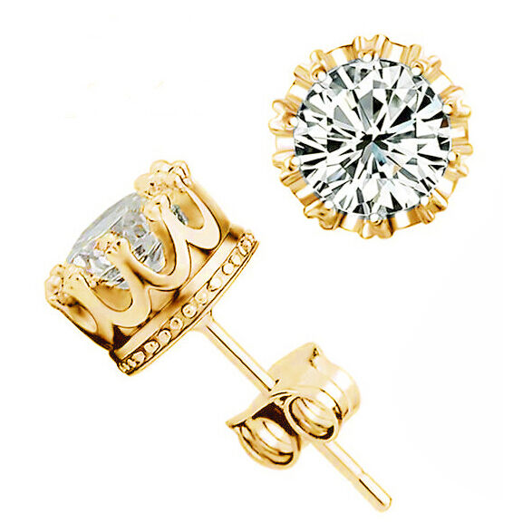 Jewellery Lady's 18K Gold Plated White Topaz Cz Crown Set Stud Earrings Gift