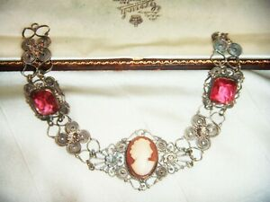 ANTIQUE-ART-DECO-Lovely-Filigree-Shell-Cameo-Pink-Paste-Crystal-Vintage-BRACELET