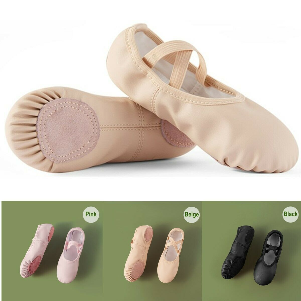 Children Kids Adult PU Leather Soft Dance Yoga Shoes Ballet Slippers Shoes New