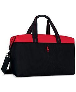 e654afd993f8 Ralph Lauren POLO red black Hand Duffel Bag Weekender Carry Travel ...