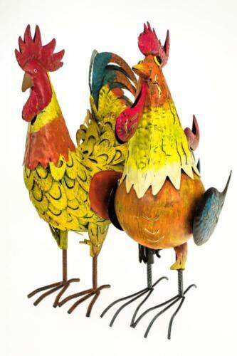 Colorful Cockerel Rooster Metal Outdoor Garden Ornament Sculpture Decoration