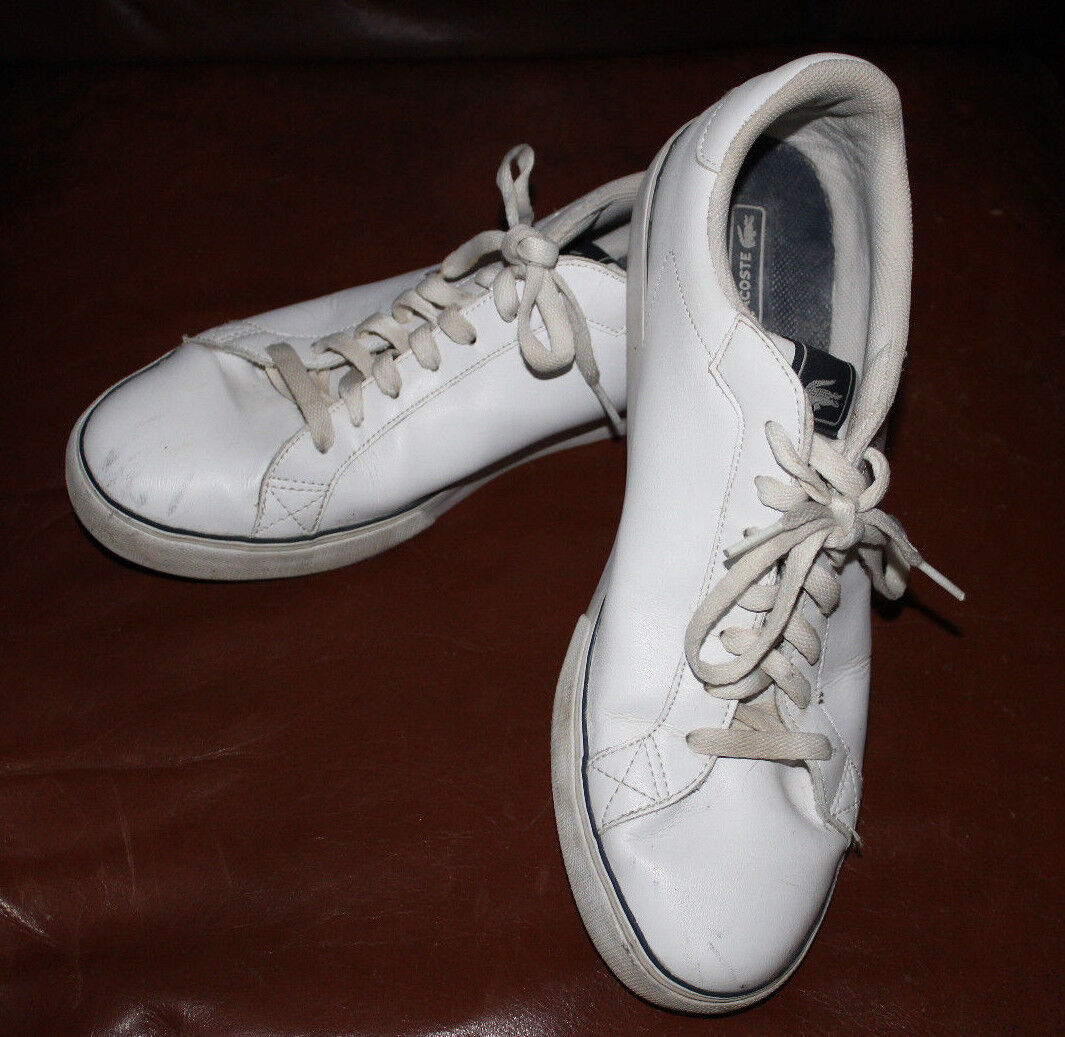 LACOSTE Mens Marling Lo Casual Sneakers White Leather Sz EUR 46 / US 12