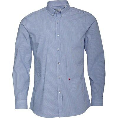Mens Authentic Moschino Shirt Blue Brand New Long Sleeved Collared