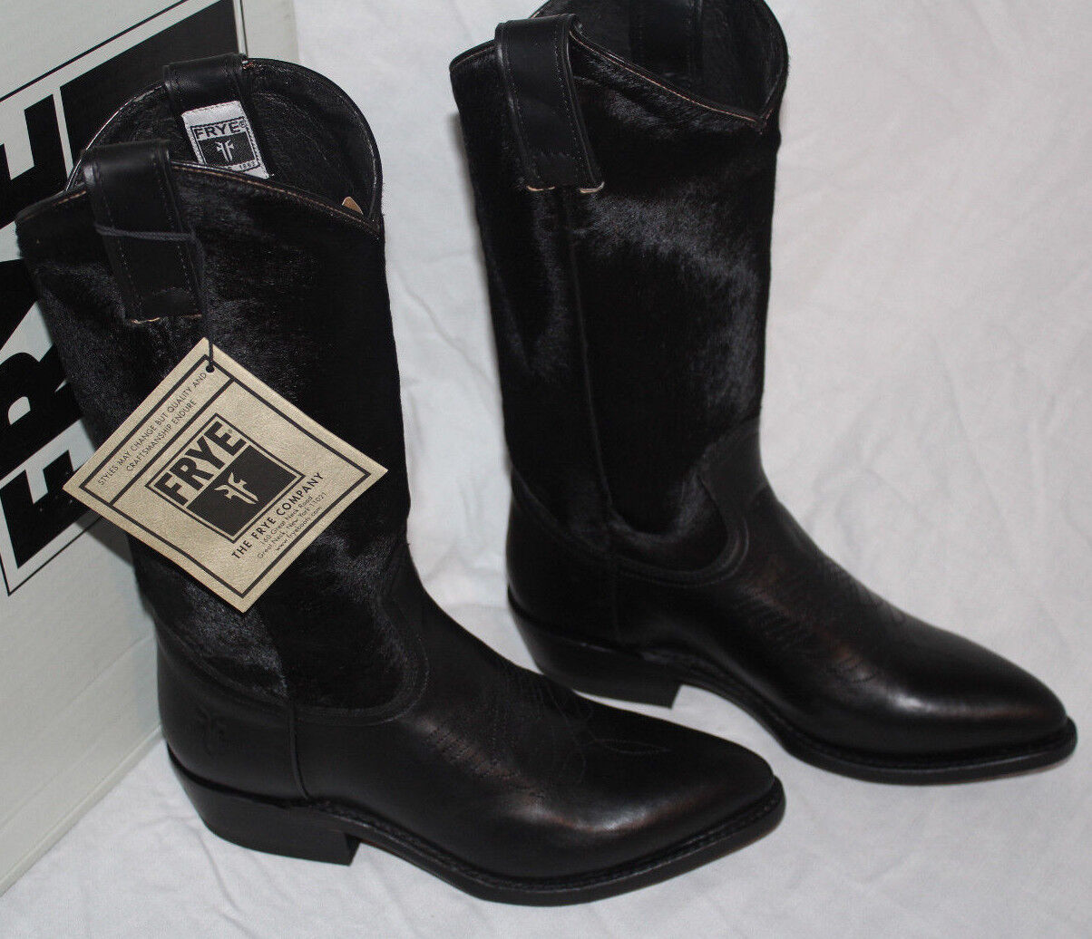 FRYE BRUCE PULL ON CALF HAIR AND LEATHER BLACK  7us  498