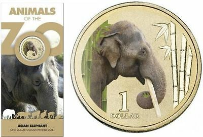 "$1 2012 Animals of the Zoo /"" Asian Elephant /"" Australian One Dollar Coin in card"