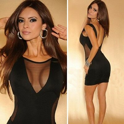 Sexy Women Backless Sleeveless Bodycon Cocktail Party Clubwear Mini Pencil Dress
