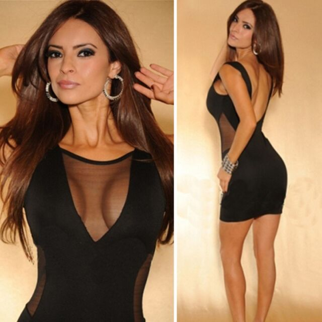 Women Sleeveless Sheer Bodycon Party Club Wear Cocktail Sexy Backless Mini Dress