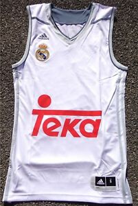 Adaptable Real Madrid Basket Maillot Jersey Adidas Hommes Taille/size S + Neuf + Blanc-afficher Le Titre D'origine