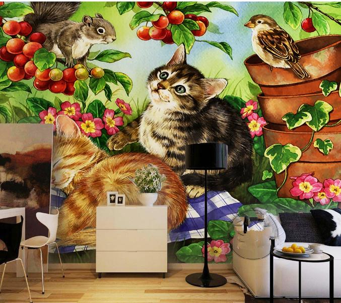 3D Katze Garten Vogel 73 Tapete Wandgemälde Tapete Tapeten Bild Familie DE