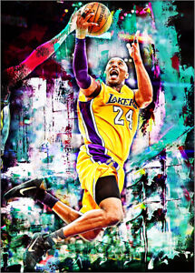 2021-Kobe-Bryant-Los-Angeles-Lakers-7-25-Art-ACEO-Sketch-Print-Card-By-Q
