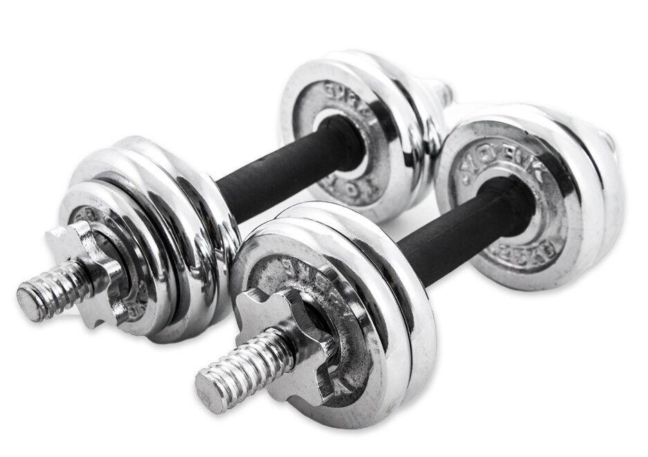 Coppia Manubri Dumbbell Componibili 15Kg Pesi Palestra Fitness Bodybuilding dfh