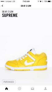 Image Is Loading Supreme Nike Sb Air Force 2 Yellow Size