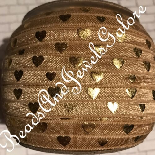 Metallic heart foe heart elastic heart hair tie bridal foe bachelorette party5//8