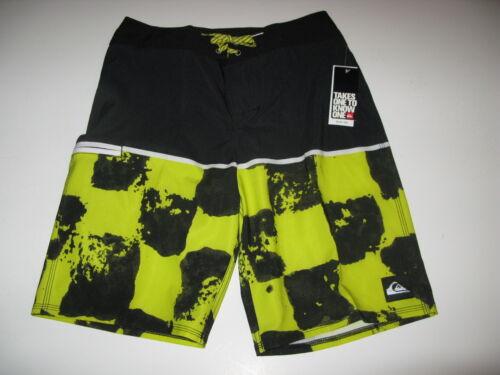 Quiksilver Boys 30 Young Guns Surf Swim Board Shorts Black Yellow Youth NWT