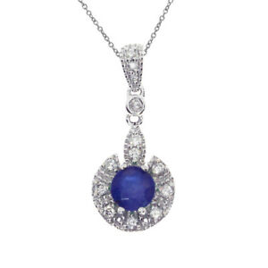10k White Gold Round Sapphire Baby Bootie Pendant with 18 Chain